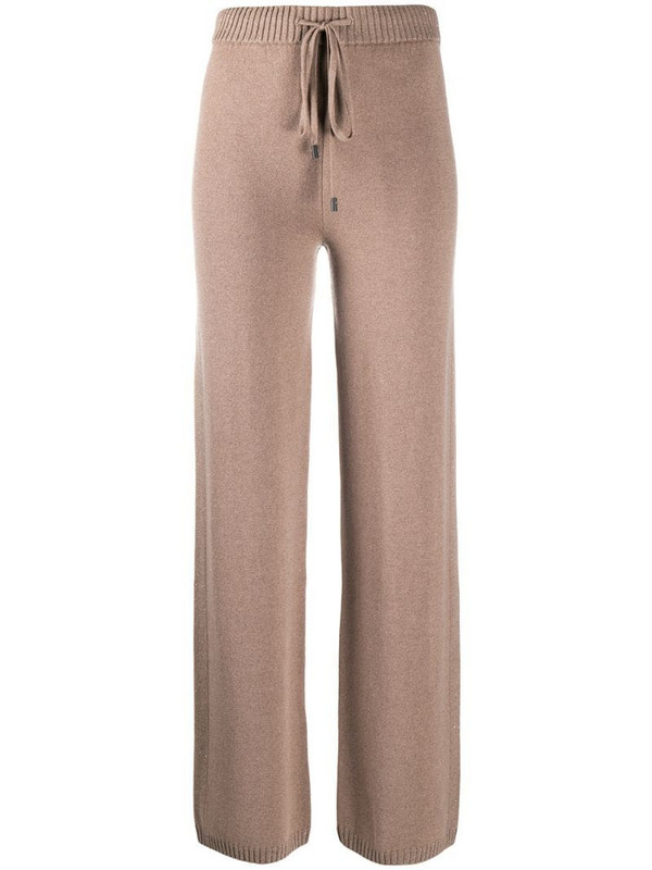 Peserico fine knit track trousers in brown