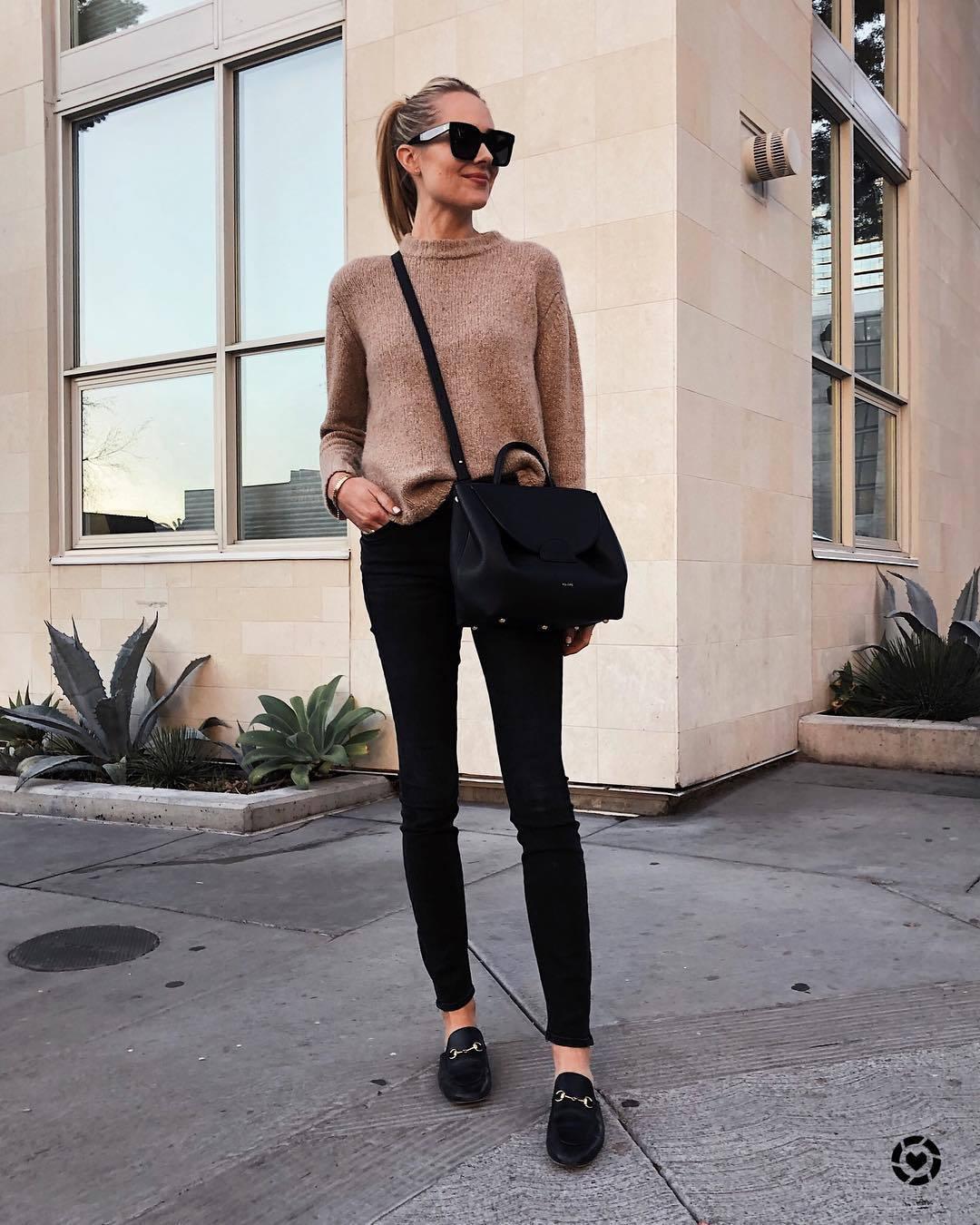 sweater knitted sweater loafers black skinny jeans black bag crossbody bag black sunglasses