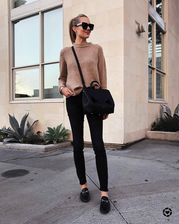sweater knitted sweater loafers black skinny jeans black bag crossbody bag black sunglasses