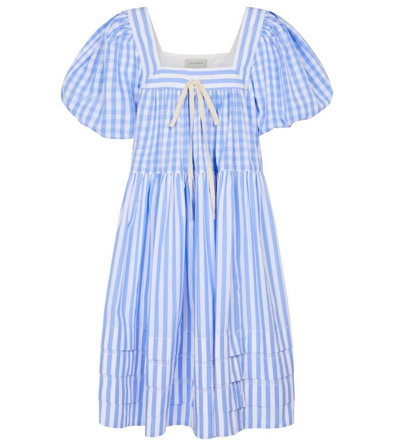 Lee Mathews Stevie striped cotton poplin minidress in blue