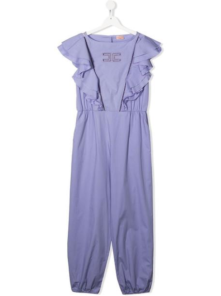 Elisabetta Franchi La Mia Bambina TEEN logo-embroidered jumpsuit - Purple