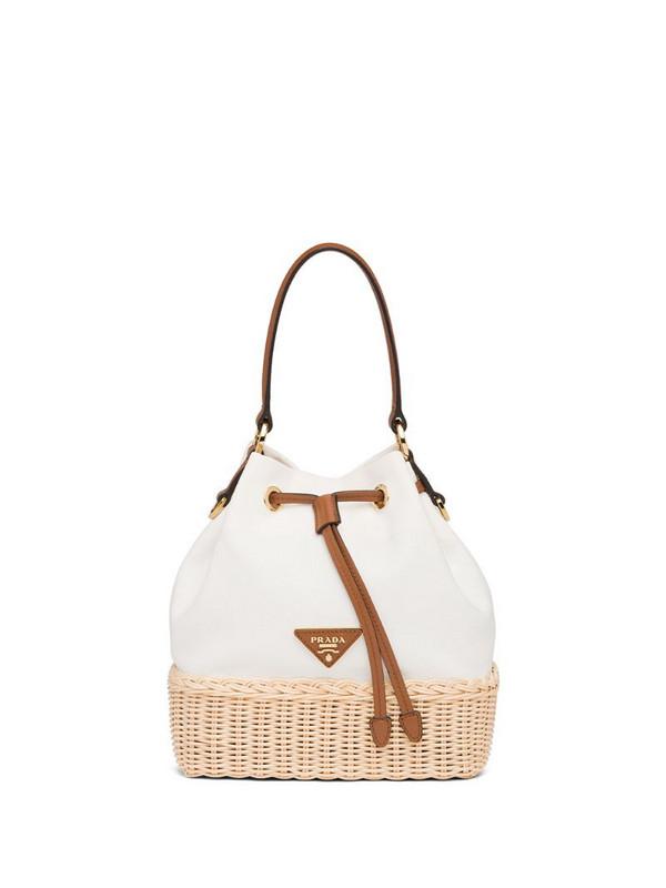 Prada Plage wicker bucket bag in white