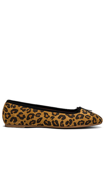 Soludos Darby Ballet Flat in Brown in leopard