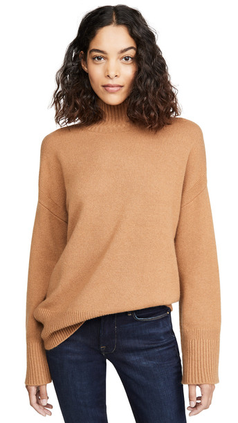 FRAME High-Low Cashmere Mock Neck Sweater in camel