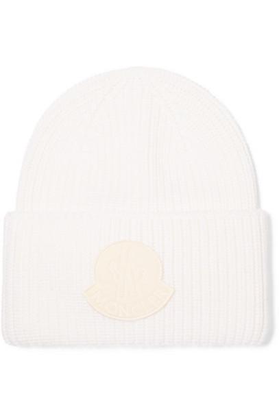 Moncler - Velvet-trimmed Ribbed Wool Beanie - White