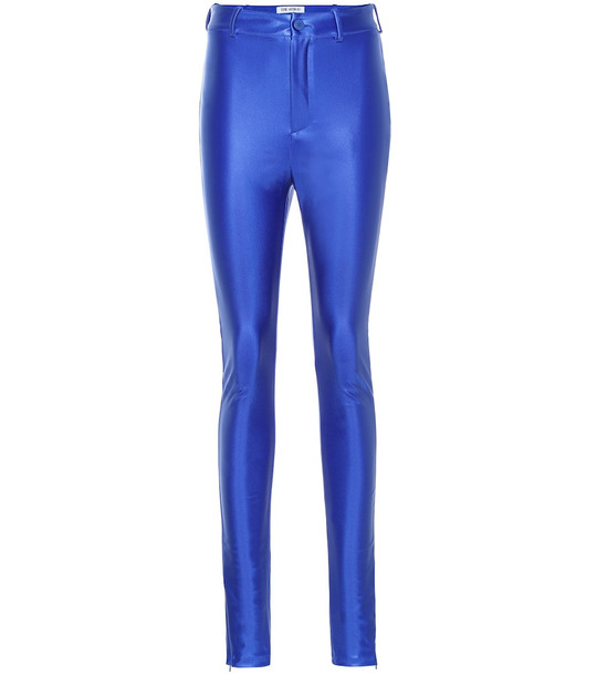 The Attico Disco high-rise skinny pants in blue