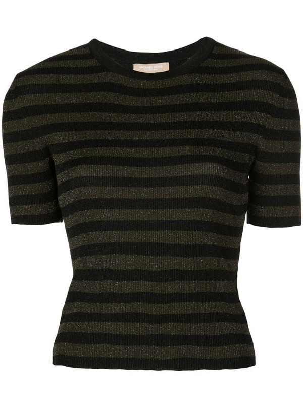 Michael Kors Collection glitter striped top in green