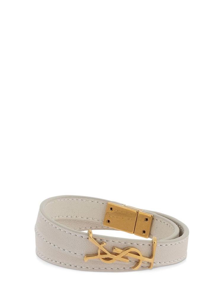 SAINT LAURENT Double Wrap Leather Bracelet in white