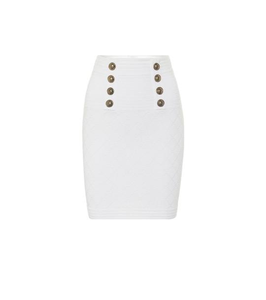 Balmain High-rise knit miniskirt in white