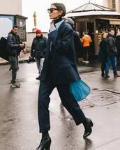 jacket,blazer,double breasted,oversized,capri pants,black boots,blue shirt,black turtleneck top