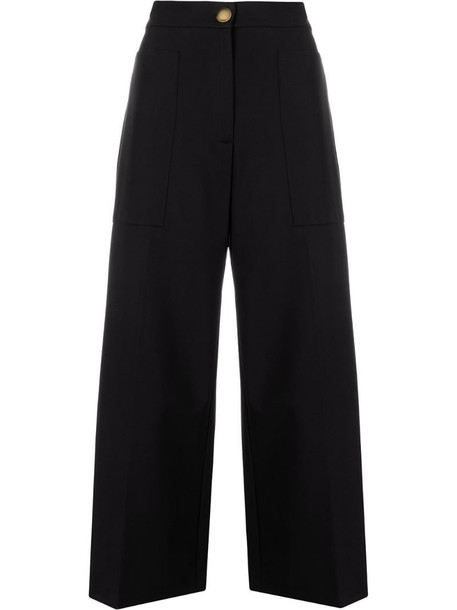 Pinko flared cropped trousers in black