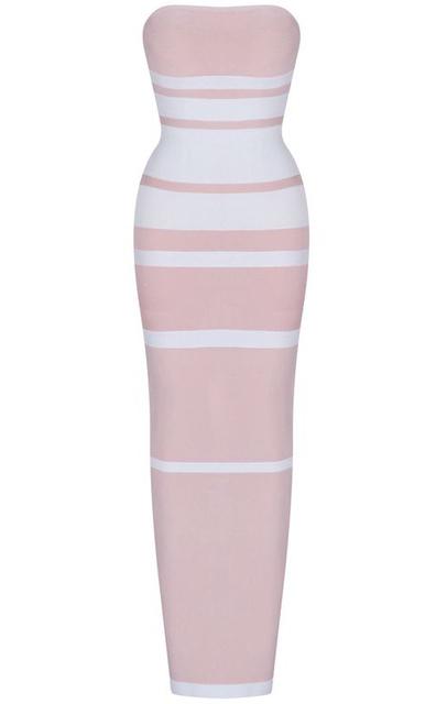 Bandeau Stripes Midi Bandage Dress