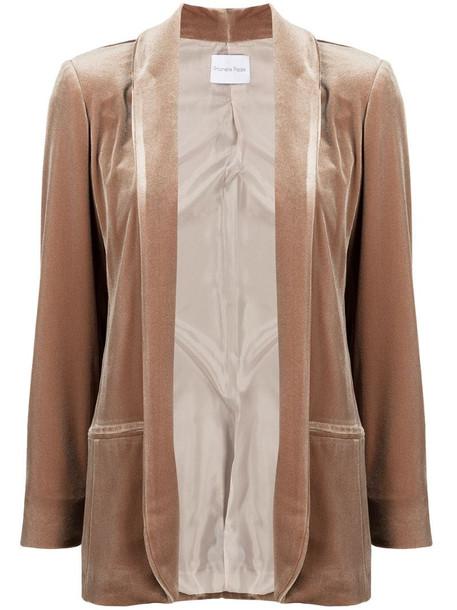 Antonella Rizza open velvet jacket in neutrals