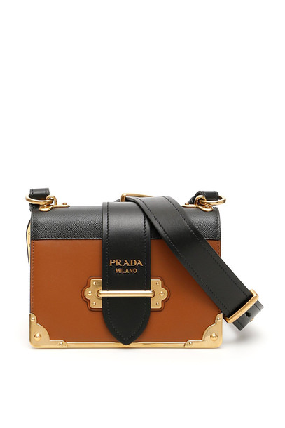 Prada Bicolor Cahier Bag in nero / brown