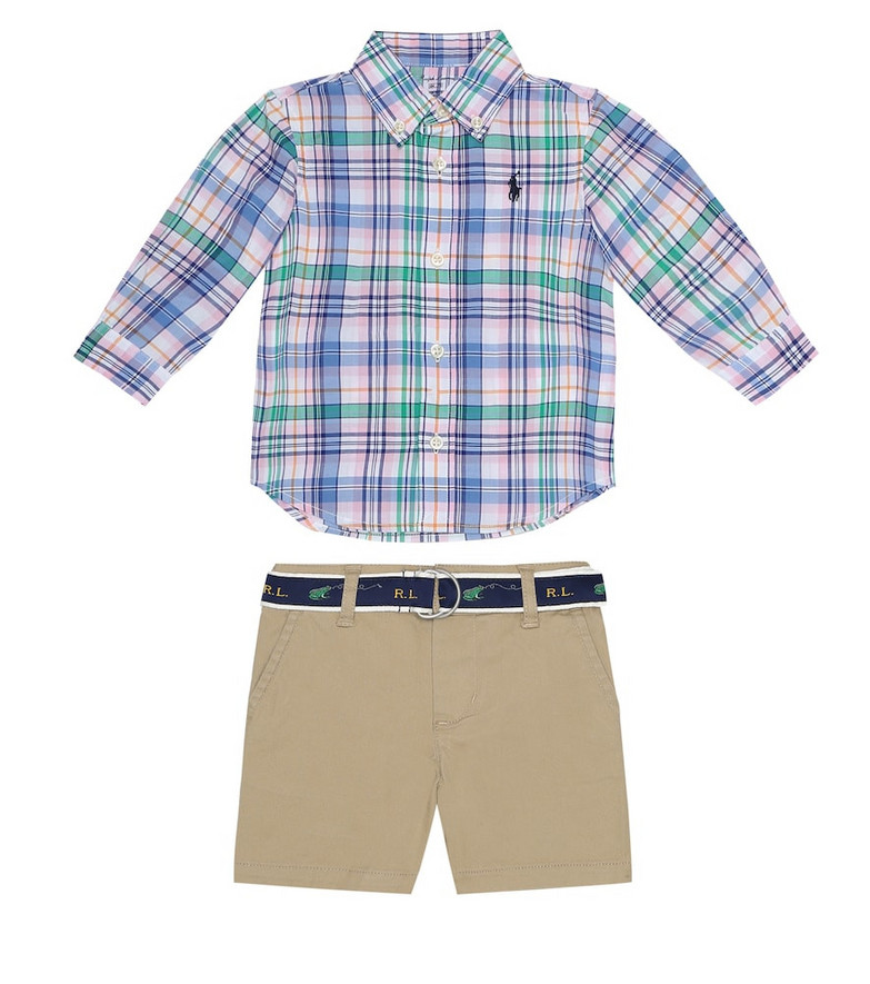 Polo Ralph Lauren Kids Baby cotton shirt and shorts set in blue
