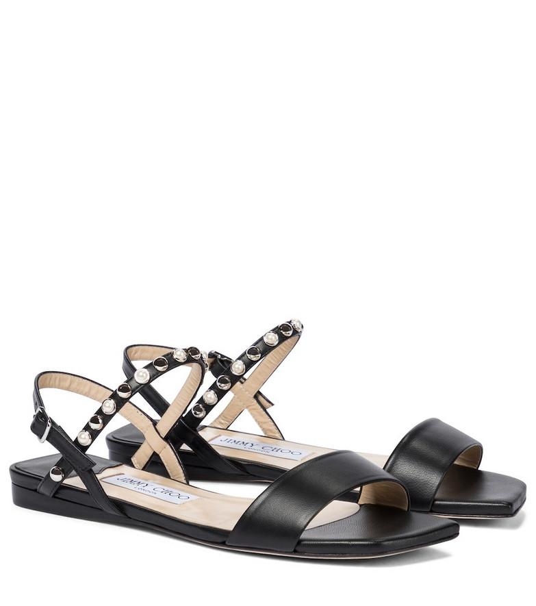 Jimmy Choo Aadra embellished leather sandals in black