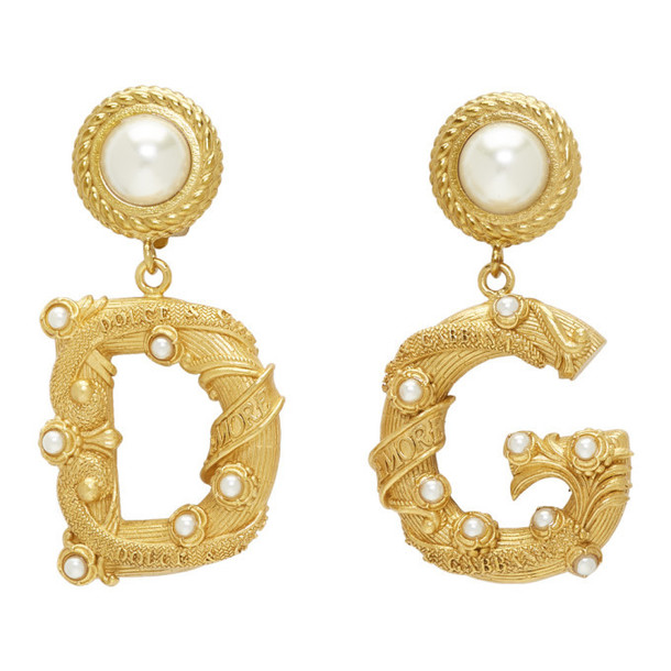 Dolce and Gabbana Gold DG Pearl Earrings