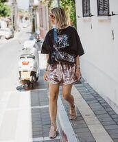 shorts,High waisted shorts,sequins,sneakers,black t-shirt,crossbody bag,fendi