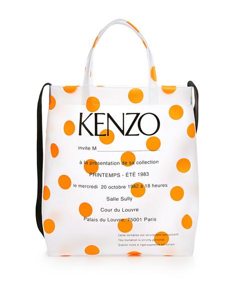 Kenzo Transparent PVC Dotted Tote Bag Orange Dots