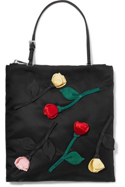 Prada - Fiori Leather-trimmed Appliquéd Nylon Tote - Black