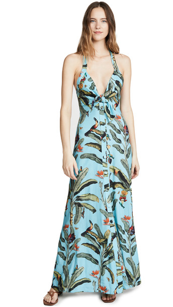 PatBO Tropical Print Halterneck Maxi Dress