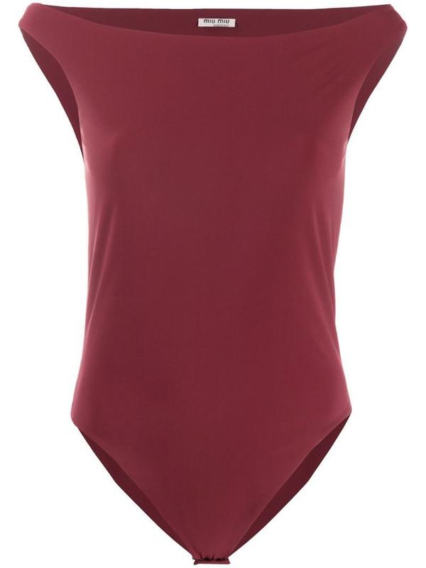 Miu Miu Pre-Owned 2000s slash neck bodysuit in red