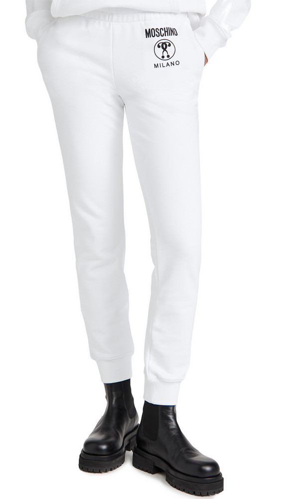 Moschino Trouser Sweatpants in white / print