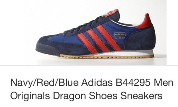 shoes adidas shoes adidas originals retro blue red modern trainers hubby birthday
