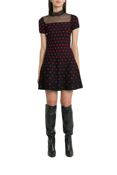 RED Valentino Mini Dress With Hearts And Plumetis Neck in nero