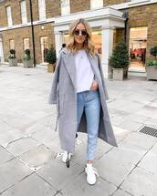 coat,grey coat,h&m,white sneakers,jeans,white blouse,sunglasses,casual