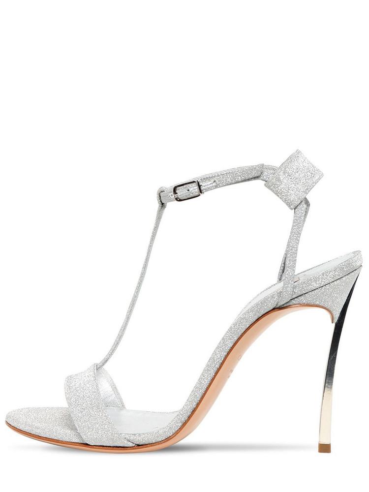 CASADEI 100mm Blade Glittered Sandals in silver