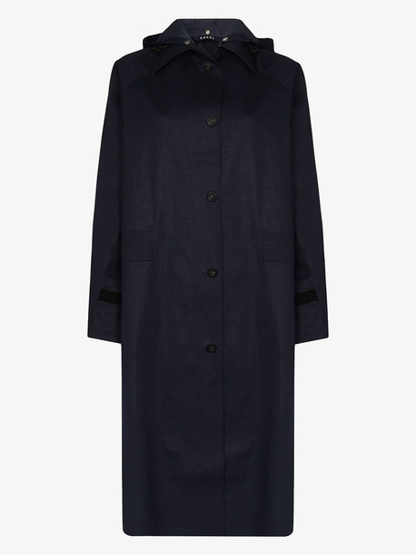 Kassl Editions hooded button-up trench coat in blue