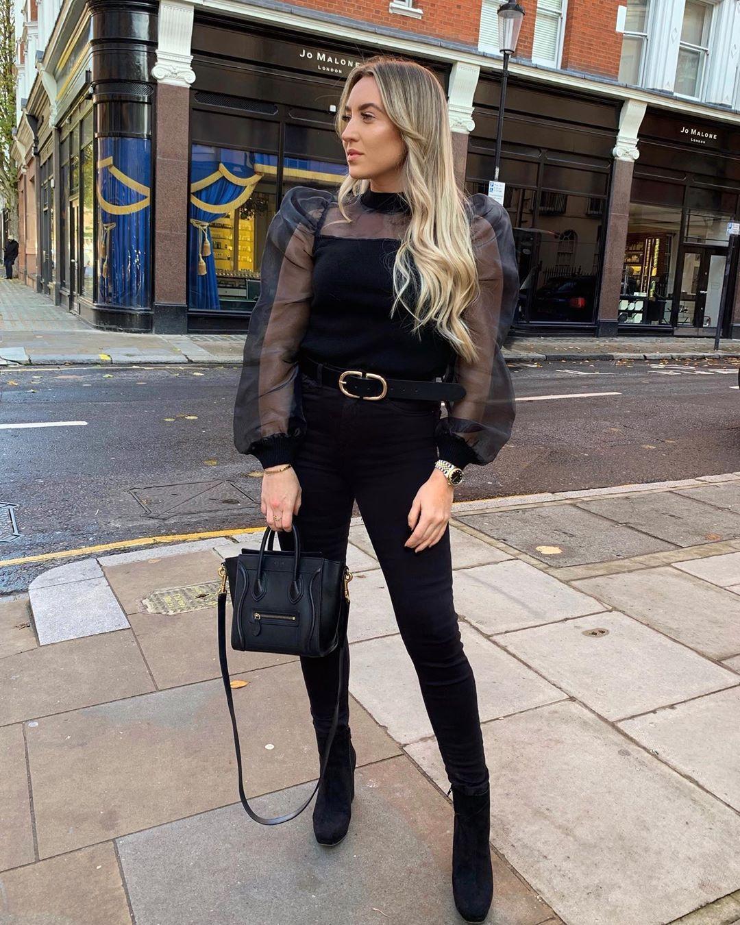 top mesh top black boots ankle boots black bag black skinny jeans