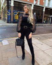 top,mesh top,black boots,ankle boots,black bag,black skinny jeans