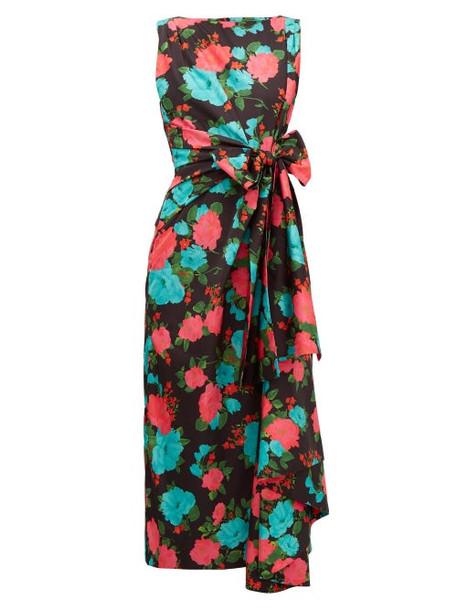 Erdem - Rozaria Floral Print Satin Midi Dress - Womens - Black Multi