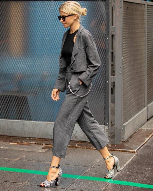 pants grey pants high waisted pants cropped jacket black top sandal heels
