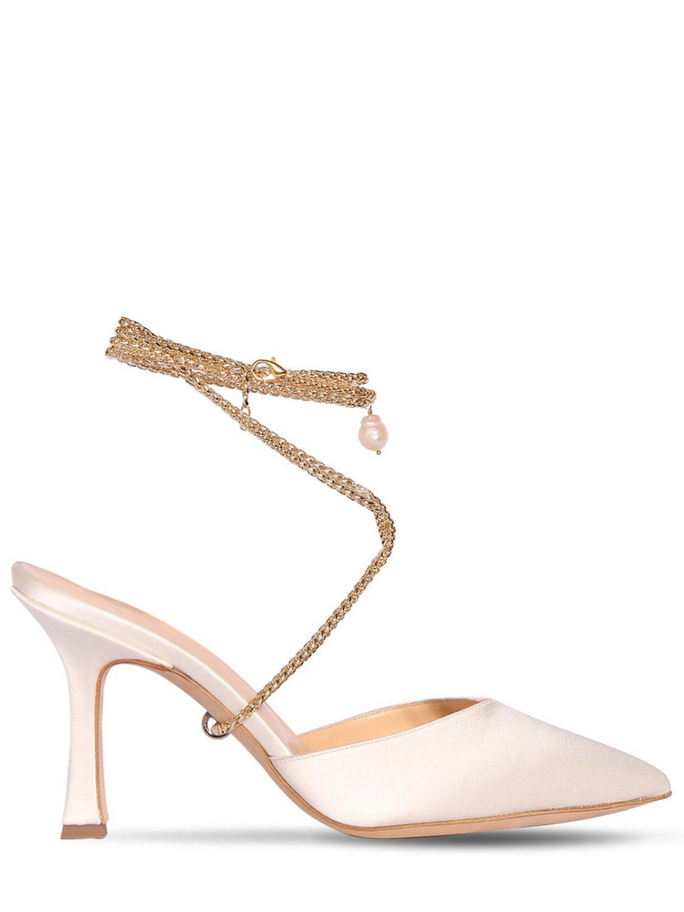 MAGDA BUTRYM 80mm Finland Satin Lace-up Pumps in white