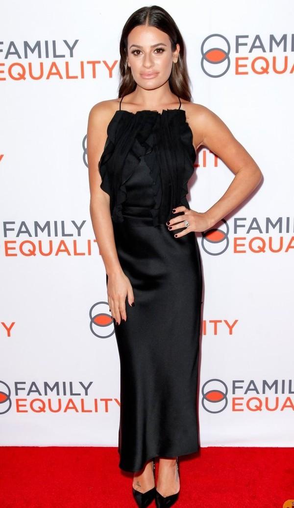 dress lea michele celebrity red carpet dress gown prom dress maxi dress black dress