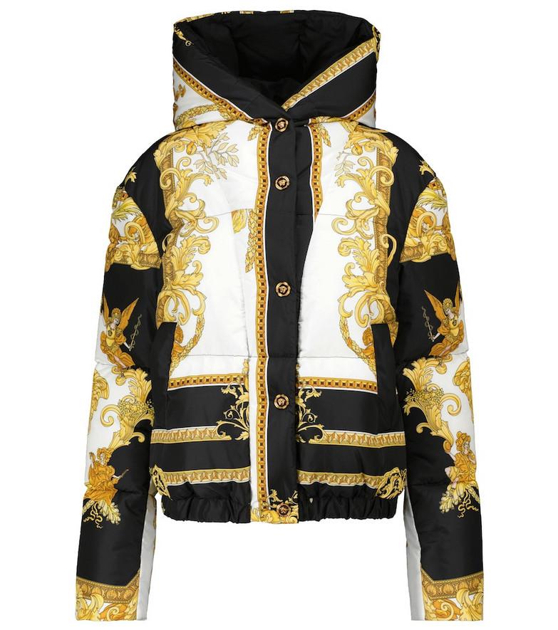 Versace Printed puffer jacket in black