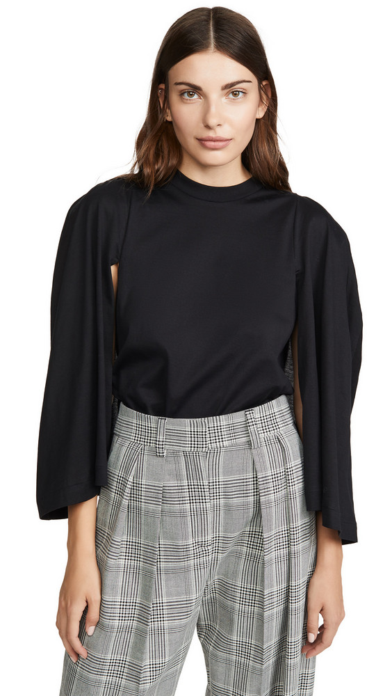 Toga Pulla Gathered Sleeve Top in black