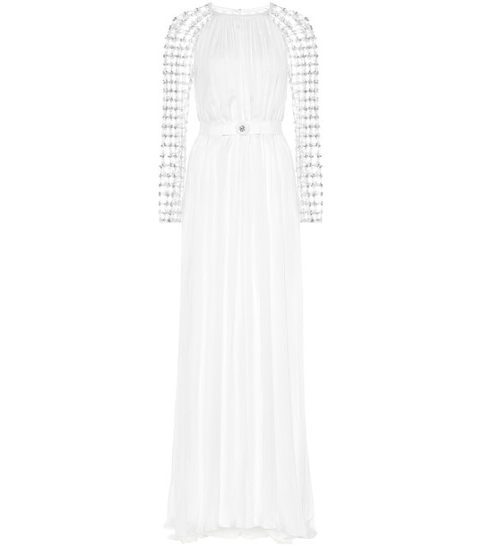 Temperley London Angeline embellished silk-blend gown in white
