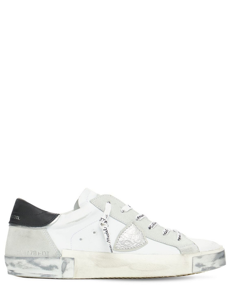 PHILIPPE MODEL Paris Leather & Suede Sneakers in white / beige