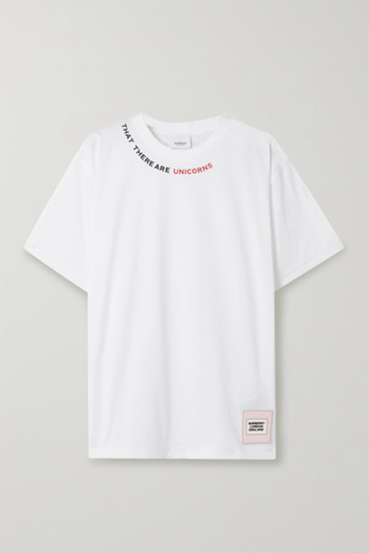 Burberry - Printed Stretch-cotton Jersey T-shirt - White