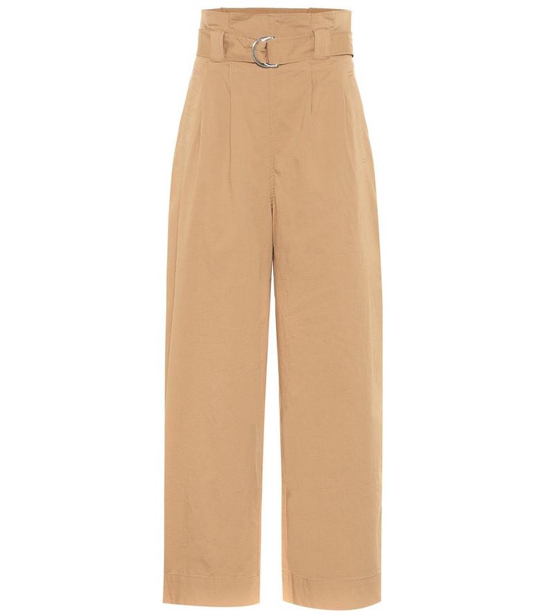 Ganni Wide-leg cotton paperbag pants in brown