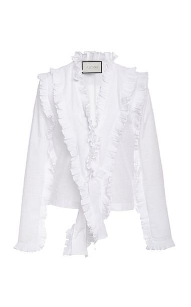 Alexis Burton Ruffled Cotton Top Size: L in white