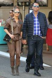jumpsuit,jennifer lopez,celebrity,boots,sunglasses,fall outfits,fall colors,pants,top,leather,leather pants