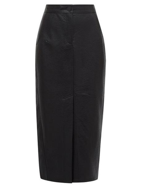 Vika Gazinskaya - Front Slit Grained Faux Leather Midi Skirt - Womens - Black