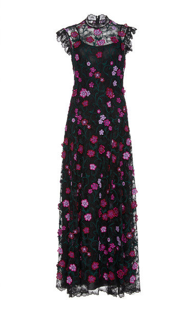 Lela Rose Embroidered Floral Lace Maxi Dress in pink