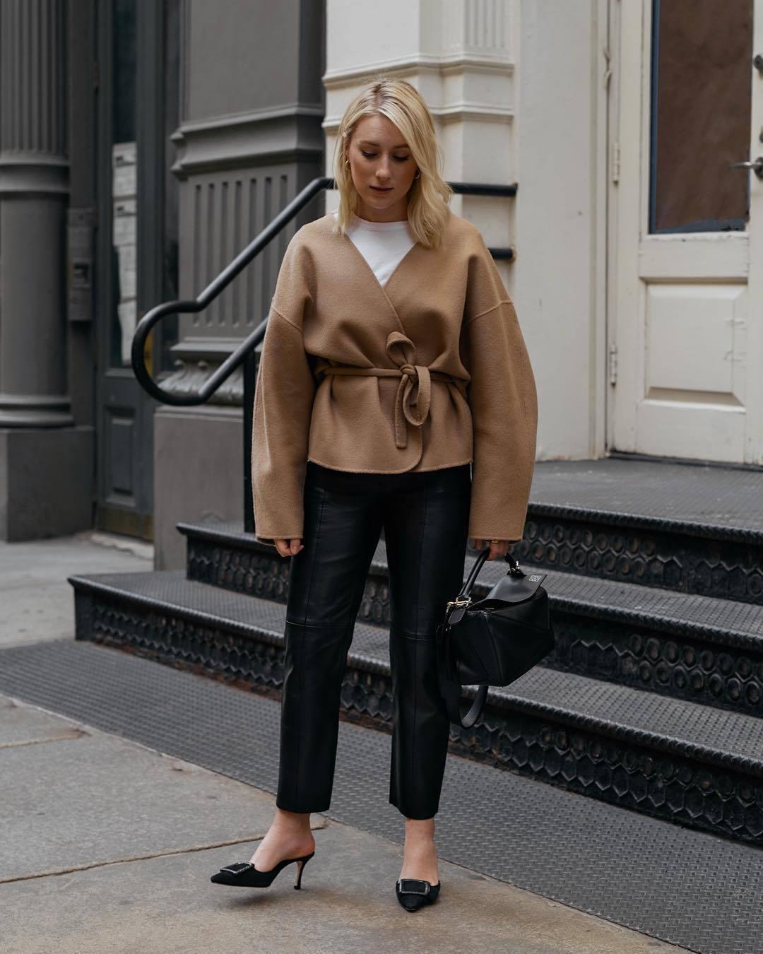 jacket mules black leather pants straight pants black bag white t-shirt