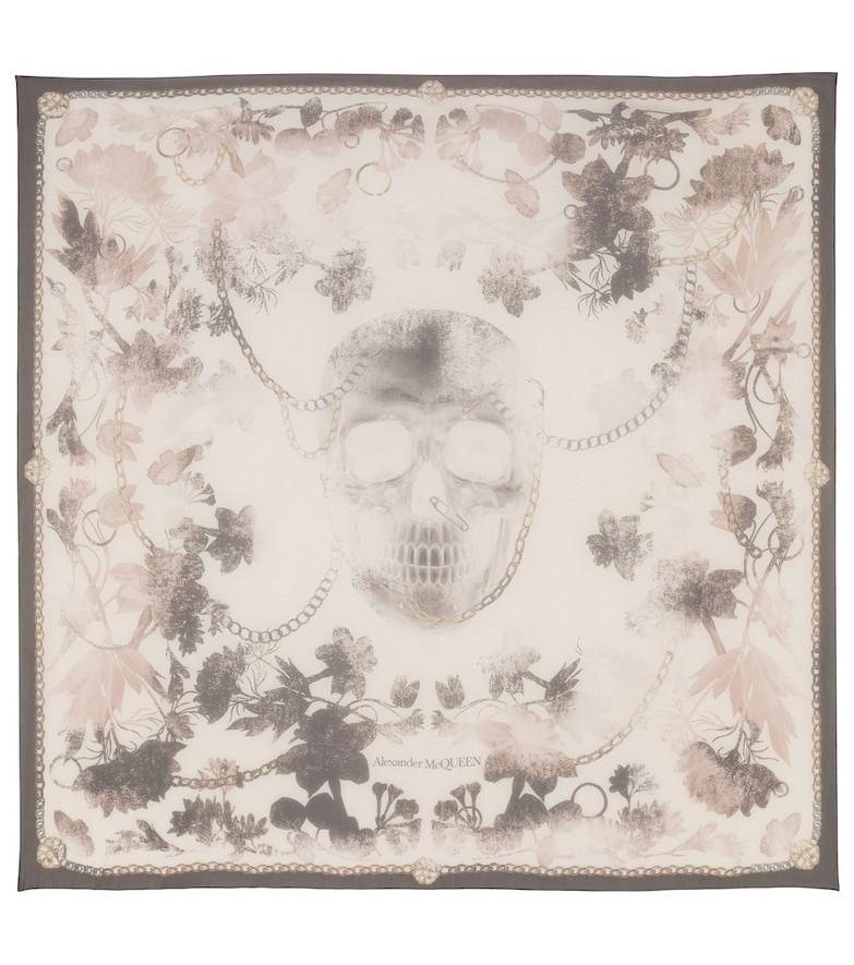 Alexander McQueen Skull-print silk scarf in white